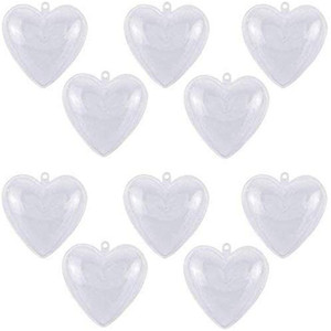 Ornements en plastique clair Boules en forme de coeur d'arbre de Noël Boule Fillable Babioles Openable boule transparente pour l'anniversaire de mariage Décorations