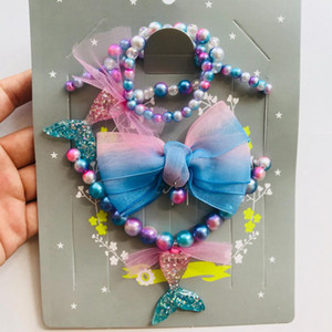 Children's Mermaid Beading Jewelry Set Fashion Necklace GradualColor Mermaid Necklace Bracelet Hairpin Suit Christmas Gift 3pcs set RRA2030