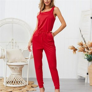 Sleevelees Bind Solid Designer Regular Jumpsuits Candy Color Fashion Full Length With Pocket Bodysuit Women Clothing