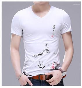 Blumendruck-Tees Short Sleeve V-Ausschnitt Kleidung der Männer beiläufige Art und Weise Tops Herren Designer-T-Shirts