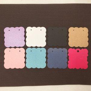 200pcs 5 * 5cm Colorful Blank Kraft Paper Ear Studs Card Hang Tag Display gioielli orecchino favore marcatura prezzi dell'indumento Etichetta etichette
