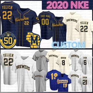 22 Christian Yelich 2020 пятидесятого Бейсбол Джерси Эрнан Перес 19 Робин Yount 6 Лоренца Каин 8 Райан Браун Трэвис Шоу Keon Broxton Эрик Темзы