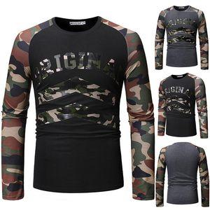 Mens T-shirts Verão O-Long Neck Sleeve Moda Tops Designer Carta Casual Imprimir Roupa Moda Camouflage Paneled