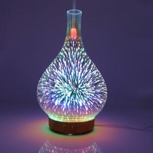 Горячие 3D Fireworks стекла Ваза Форма Увлажнитель воздуха с LED Night Light Aroma Диффузор Mist Maker Ультразвуковой увлажнитель