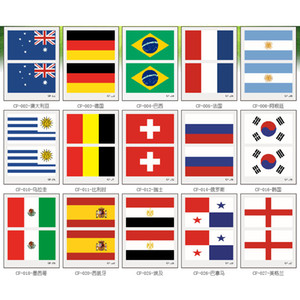40 Countries Style Flag Face Stickers Football Flag Tattoo Sticker Team Disposable Sticker Temporary Sticker XD23563
