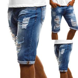 Мода Vintage Summer Men рваные джинсы Turn Up манжета пятые Брюки джинсовые шорты плюс размер S-4XL