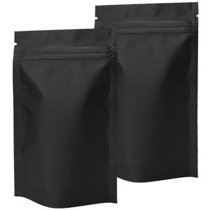 100 Pack Smell Proof Bags - Resealable Stand-Up Mylar Bags Foil Pouch Double-Sided Zipper Closure Bag Matte Black