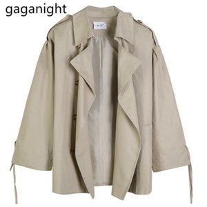 Gaganight Fashion Women Trench Coat Solid Casual Loose Tops Outwear Spring Autumn New Korean Short Trenches Jacket Ropa Mujer