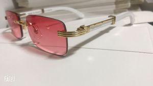 Quadratische Gläser Buffalo Horn Kunststoff-Glas Holzbein Sonnenbrille Man beste Qualität Gold Holz Bambus randlos Rahmengläser mit Kasten Lunettes