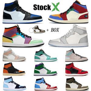 2020 Nike Air Jordan Retro OG 1 scarpe da basket 1s Toe Pine Green Black atin Shattered Tabellone Chicago Royal Blue Bred Designer dimensione Sneakers 5,5-13