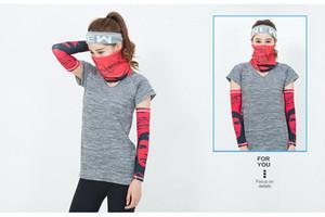 Hip hop Bandana Magic Scarf protective sleeves set Sport Sun UV Protection Cooling Face Mask For Running Fishing Cycling LJJA4081
