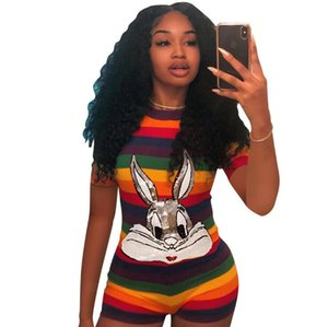 Stripped Jumpsuits Womens Summer Sequins Rabbit One-piece Jumpsuit Shorts Colors Sexy Streetwear Jumpsuits