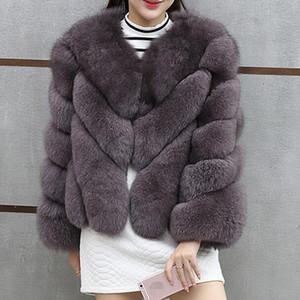 2019 NUOVO Streetwear Furry Faux Fur Coat Women Plus Size maniche lunghe cappotti di inverno della signora Jackets fourrure Abrigo mujer DF602