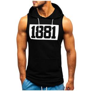 Muscle Mens t-shirt da aptidão shirt sem mangas com capuz Top academia de musculação Tops Vest Workout T-shirt apertado bolso