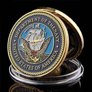 Американский Департамент Военно Вызова Монета флота армии 1 унция Позолоченные монет Металлические изделия W / капсула
