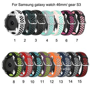 Two-color breathable Silicone Wrist Band Strap for Samsung Galaxy Watch 46mm Replaceable for Samsung gear S3 Smart watch Factory Promotion