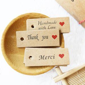 감사합니다 Kraft 종이 태그 Party Decoration Merci 선물 종이 Hang 태그 Paper Cards DIY Price 라벨 수제 의류 태그 300pcs