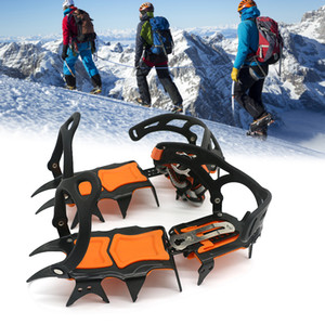 Ice Gripper 1 Pair 14 Teeth Non Slip Climbing Crampons Cleats Shoe Cover Ice Crampons Winter Snow Spikes Boot Shoes For Winter