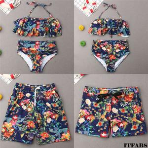 Dört Mayo Ana Kız Bikini A Family Baba ve Oğul Sandıklar Yaz Beachwear Veli-Çocuk Mayo yazdır ayarlar