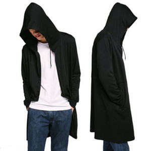 Männer Vintage-Gotik Hip Hop-Mantel mit Kapuze Mantel Herrenmode Design Long Cardigan Street Punk Jacken