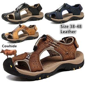 CUNGEL Мужские ботинки из натуральной кожи мужчин сандалии лето Мужская обувь Бич Мода Открытый Повседневный Покрытием Кроссовки Обувь Размер 48