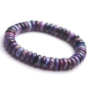 Genuine Natural Sugilite Gemstone Healing Crystal Abacus Marquise Bead Stretch Natural Stone Fitness Bracelets For Women Men