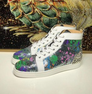 Brandss Designer Rainbow Glitter Sequins Leather High Top Red Bottom Men Sneakers Shoes High Quality Casual Walking Party Wedding With Box