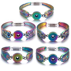 12pcs Metal Snap Button Bracelet Bohemian Magnet Snap Bracelet Watches Women 18mm Snap Buttons Interchangeable Charm Jewelry