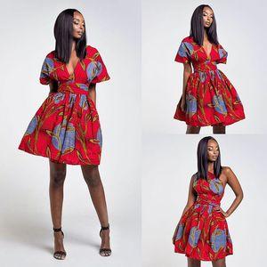 Afrika Ankara Baskı Çoklu Yolu Wrap Elbise Kadın Infinity Elbise Convertable Bir Omuz V Cut Boyun Giyim Midi Elbise İçin Lady