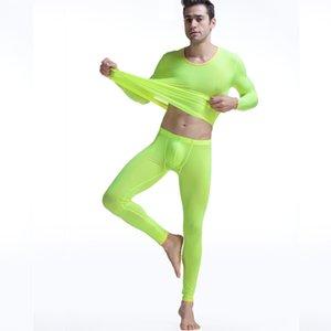 Uzun Johns adam Tabanlı iç çamaşırı erkek erkek elastik ince ipek pateni ipek saydam yuvarlak yakalı uzun Johns takım uyacak