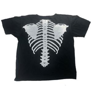 T-Shirts do desenhador de homens Caveira caixa torácica caixa torácica preta e branca a condizer com roupas casuais de Manga Curta e de alto calibre