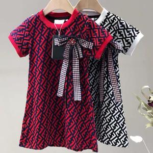 Art und Weise kleidet Sommer Babykleider hoher Qualität gestrickt kurze Ärmel Brief gedruckt Prinzessin Kleider für Kinder Designer-Kleidung Mädchen
