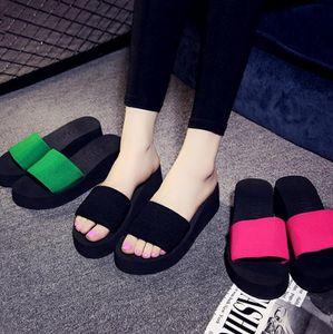 2020 Женская обувь Клин лето Подошвы Клин высокой пятки платформы Пляж Вьетнамки Thong тапочки сандалии