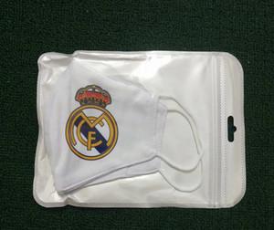 5pcs Real Madrid équipe de football matériel coton masque de football masques ventilateurs masque à usage unique peuvent être mis au milieu Lavable réutilisable