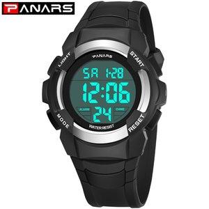 PANARS Цифровые спортивные часы Мужчины Count Down Таймер Будильник Man LED Back Light Display Наручные часы хронограф часы 8012