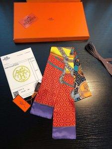 Luxury женщины ГЕРМЕСА моды лента шелкового шарф красивой конструкции смешивания девочки косынки волосы полоса мешок ручка обертывание небольших шарфов шеи