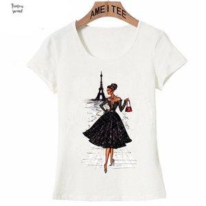 قميص خمر فوج باريس الأسود الطباعة فتاة الصيف أزياء المرأة تي شيرت الجدة بلايز محب عارضة بارد السيدات زين المحملة