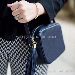 Sac à main de haute qualité pour dames, sacs à pompons en cuir de 21 cm, lettres de broderie, peau de vache de couche supérieure importée, sac à glissière en cuir, sac pour appareil photo 308364