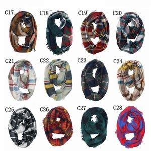 Anillo tela escocesa de la bufanda del abrigo del mantón de cuadrícula Infinity Loop confección de bufandas de rayas Pañuelo Mujeres Neckchief 30 colores LJJO7151