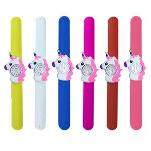 Reloj para niños Unicorn 3D reloj de dibujos animados Unicorn Rubber Slap Clap reloj de pulsera banda de goma de silicona lindo reloj para niños para Navidad