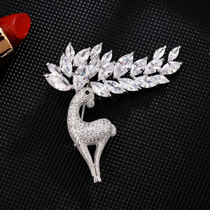 Big Antler Deer Zircon Brooches High-End Sika Deer Brooch Pin Korean Style Fashion Clothing Accessories Brooch