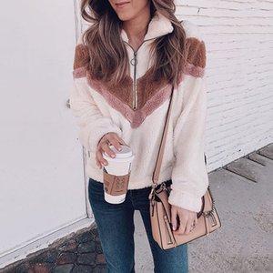 2019 Herbst Winter Reißverschluss Frauen Hoodies beiläufige Umlegekragen New warme Frauen-Sweatshirt black Tops Kleidung sudadera mujer