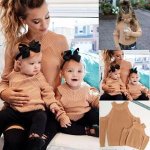 Mommy and Me Outfits Maglioni Abbigliamento Famiglia Donne Madre bambini della neonata al largo della spalla manica lunga autunno Tops Clothes