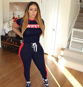 2pcs pantaloni casual Abbigliamento Donna Stampa Wifey 2 pezzi Donna Set Lettera Slim Estate