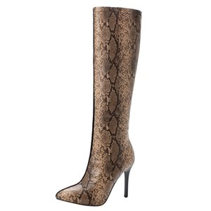 Women High-Heeled Shoes Winter Stitching Color Fine Heel Thigh High Boots Plus size 35-43 European Ladies shoes bottes femme