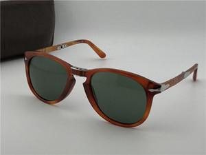 Moda tasarımcısı deri çantayla 714 klasik retro pilotu katlanır çerçeve cam mercek UV400 koruması gözlük güneş gözlüğü