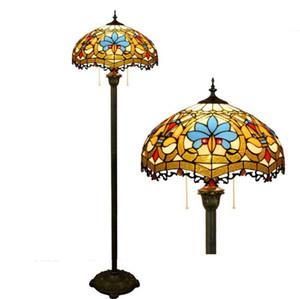 Aydınlatma Tiffany Reçine Işık Lambader Gölgeli Ayaklı Lambalar Lambalar Tiffany-Style Işık Barok Çiçek Lambader Oturma odası TF017