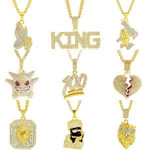Rhinestone Мужчины ожерелье сплава Hip Hop ожерелья Сердце Голова льва Дизайн ожерелье ювелирные изделия мужские кулон золотой цепи Мода аксессуары Подарки