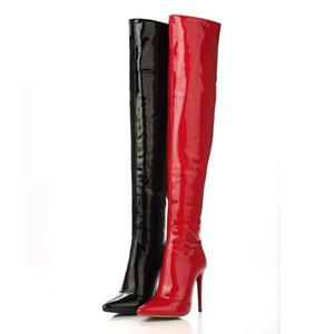 Designer-Donna Tacchi alti Stivali alti Tacco a spillo in pelle verniciata sexy sopra gli stivali al ginocchio per le donne Stivali da ballo per le signore Taglia 35-43