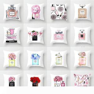 pillowcase fashion perfume bottle printing car Pillowcase Home Cloth sofa pillow Cushion cover wholesale To map custom made
